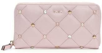 DKNY Barbara Quilted Blush Leather Zip Around Wallet