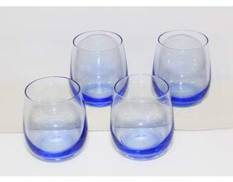 GM Glass Cobalt Blue Naturally Colored Stemless Wine Glass Tumblers 4 pack