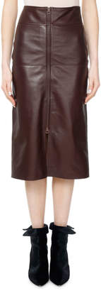 Isabel Marant Giny Leather Zip-Front Skirt