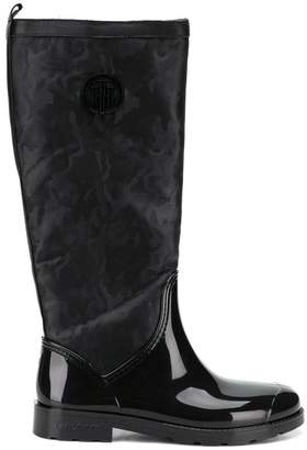 Tommy Hilfiger shiny camouflage Wellington boots