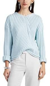 Nomia Women's Oversized Rib-Knit Cotton V-Neck Sweater - Light, Pastel blue