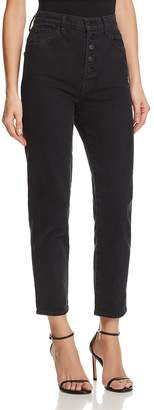 J Brand Heather Button-Fly Straight Jeans in Overthrow