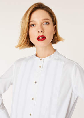 Paul Smith Women's White Tunic Shirt With Band-Collar And Tux Bib Detail