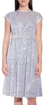 Dice Kayek Silver Sequin Short Sleeve Dress