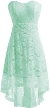 Miranda's Bridal Women's High Low Sweetheart Short Mini Lace Bridesmaid Dress US2