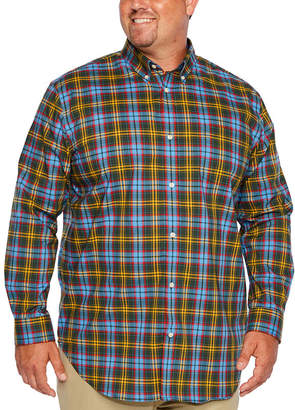 Co THE FOUNDRY SUPPLY The Foundry Big & Tall Supply Long Sleeve Plaid Button-Front Shirt-Big and Tall