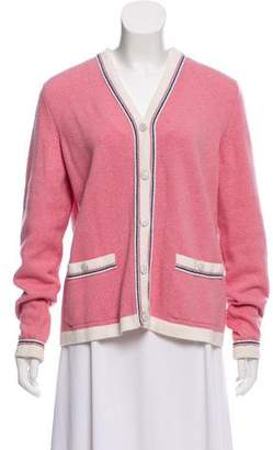 Chanel Cashmere Stripe-Trimmed Cardigan