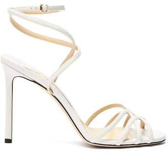 Jimmy Choo Mimi 100 Wrap Around Leather Sandals - Womens - White