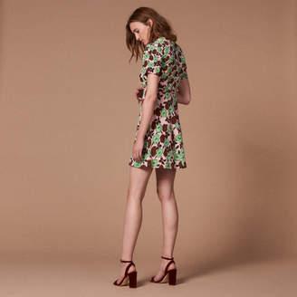 Sandro Floral-print silk dress