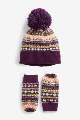 Next Girls Fairisle Pattern 2 Piece Hat And Mitts Set (Younger) - Purple