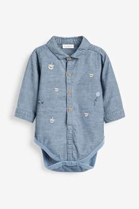 Next Boys Blue Cord Embroidered Shirt Bodysuit (0mths-2yrs) - Blue