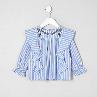 River Island Mini girls Blue stripe swing top