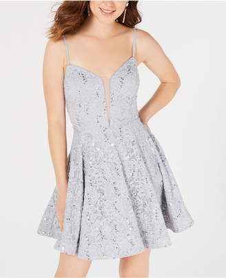 Speechless Juniors' Sequin-Embellished Lace Dress