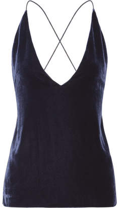 Dion Lee Velvet And Crepe Camisole - Midnight blue