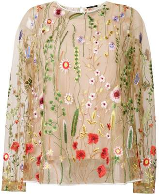 Odeeh sheer floral embroidered blouse