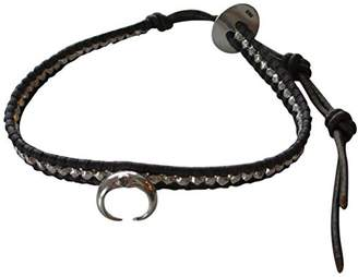 Chan Luu Sterling Silver Indian Beads and Crescent Horn Single Wrap Dark Grey Leather Bracelet