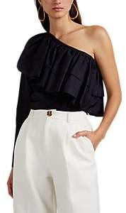Martin Grant Women's Ruffled Cotton One-Shoulder Top - Dk. Purple