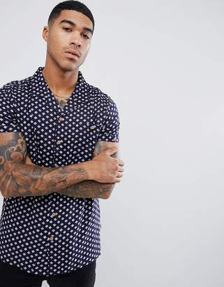 Soul Star short sleeve patterned shirt with revere collar