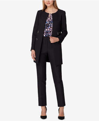 Tahari ASL Collarless Long Blazer