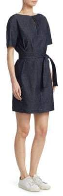 Theory Belted Denim Shift Dress