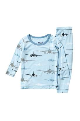 Kickee Pants Print Long Sleeve Pajama Set in Pond Airplanes (Baby, Toddler, Little Boys & Big Boys)