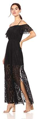 Wild Meadow Women's Flutter Sleeve Illusion Lace Maxi Dress XL