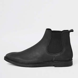 River Island Black nubuck leather chelsea boots