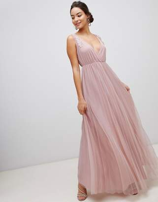Asos Design DESIGN Pleated Tulle Maxi Dress with Applique Lace Trim