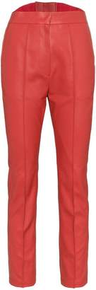 PushBUTTON high waisted cropped faux leather trousers