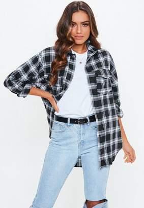 Missguided Tall Black Basic Plaid Shirt