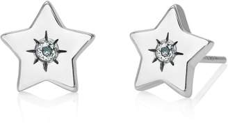 John Greed Candy Space Silver & Aquamarine Star Stud Earrings