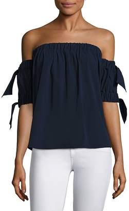 Milly Women's Bow Off-The-Shoulder Top - Navy, Size x-small