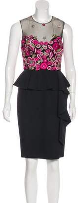 Marchesa Peplum Knee-Length Dress w/ Tags