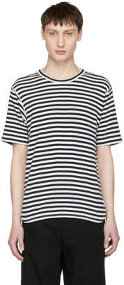 Junya Watanabe Navy and Off-White Stripe Knit T-Shirt
