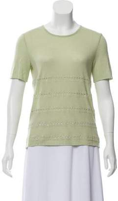 Oscar de la Renta Cashmere-Silk Embellished Top