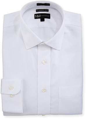 Neiman Marcus Classic-Fit Non-Iron Textured Dress Shirt, White