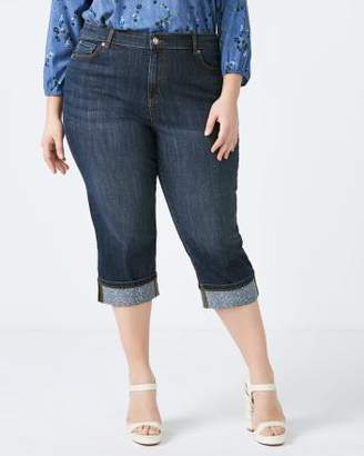 Penningtons Petite Slightly Curvy Fit Denim Capri with Printed Cuffs - d/C JEANS