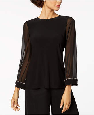 MSK Embellished Chiffon-Sleeve Top