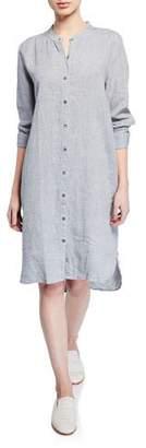 Eileen Fisher Yarn-Dye Organic Linen Hanky Shirtdress