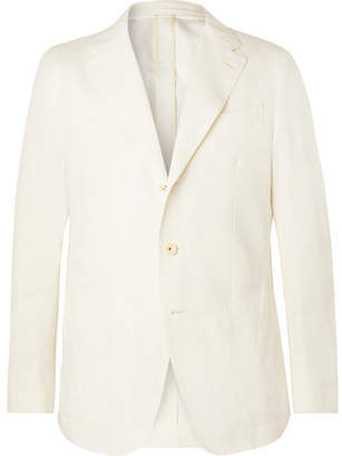 f0400ddc3aa Caruso Cream Butterfly Cotton, Linen And Silk-Blend Suit Jacket