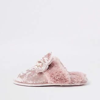 River Island Pink velvet bow mule slippers