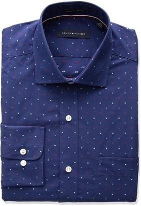 Tommy Hilfiger Men's Non Iron Regular Fit Dot Spread Collar Dress Shirt