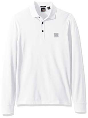 HUGO BOSS Men's Passerby Long Sleeve Polo with Chest Logo Patch