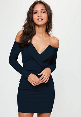 3cac9c115f011 Missguided Navy Bardot Foldover Bodycon Wrap Dress