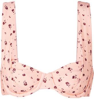 Peony Floral-print Underwired Bikini Top