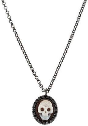 Amedeo Shell Cameo & Diamond Skull Pendant Necklace