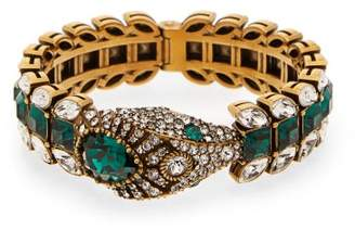 Gucci Crystal Embellished Snake Cuff Bracelet - Womens - Green