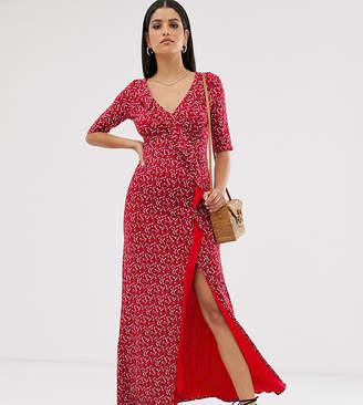 Asos Tall DESIGN Tall long sleeve wrap maxi dress in ditsy print