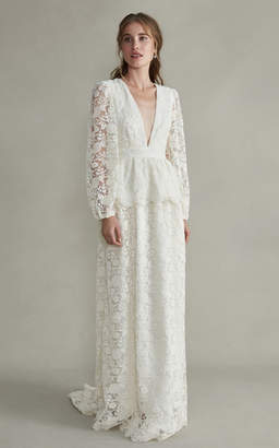 Markarian Aphrodite V-Neck Silk Gown With Long Sleeves