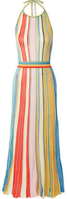 Missoni Striped Metallic Stretch-knit Halterneck Dress - Coral